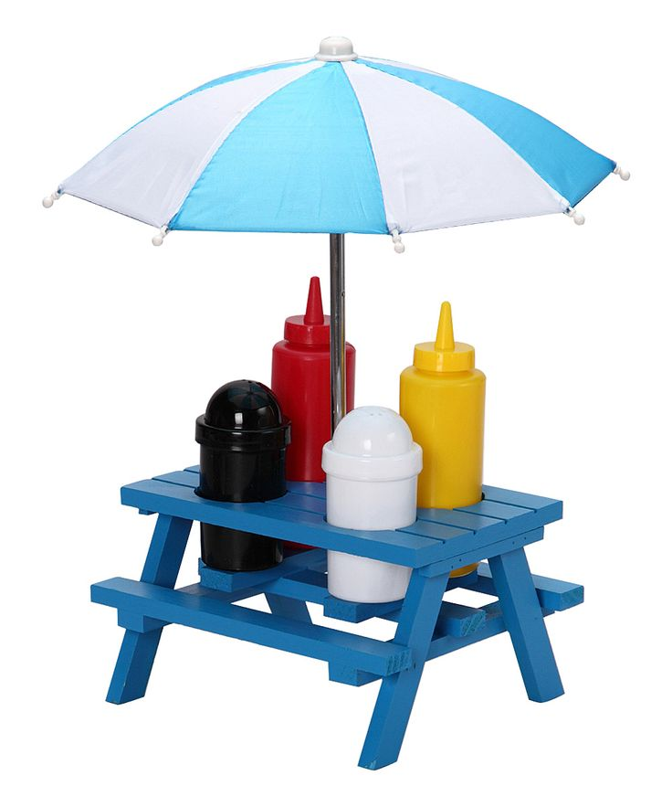 Backyard Umbrella Condiment Set : Blue Picnic Table Condiment Set (includes holder, umbrella, two