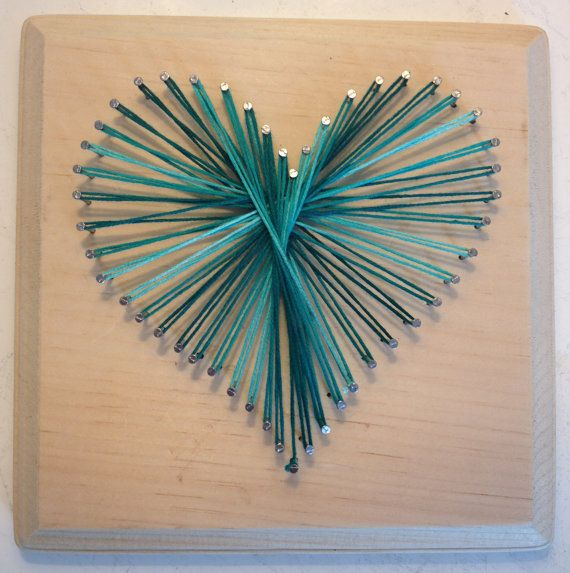 greens and blues. Super cute and very easy*** Nail & String Art Heart
