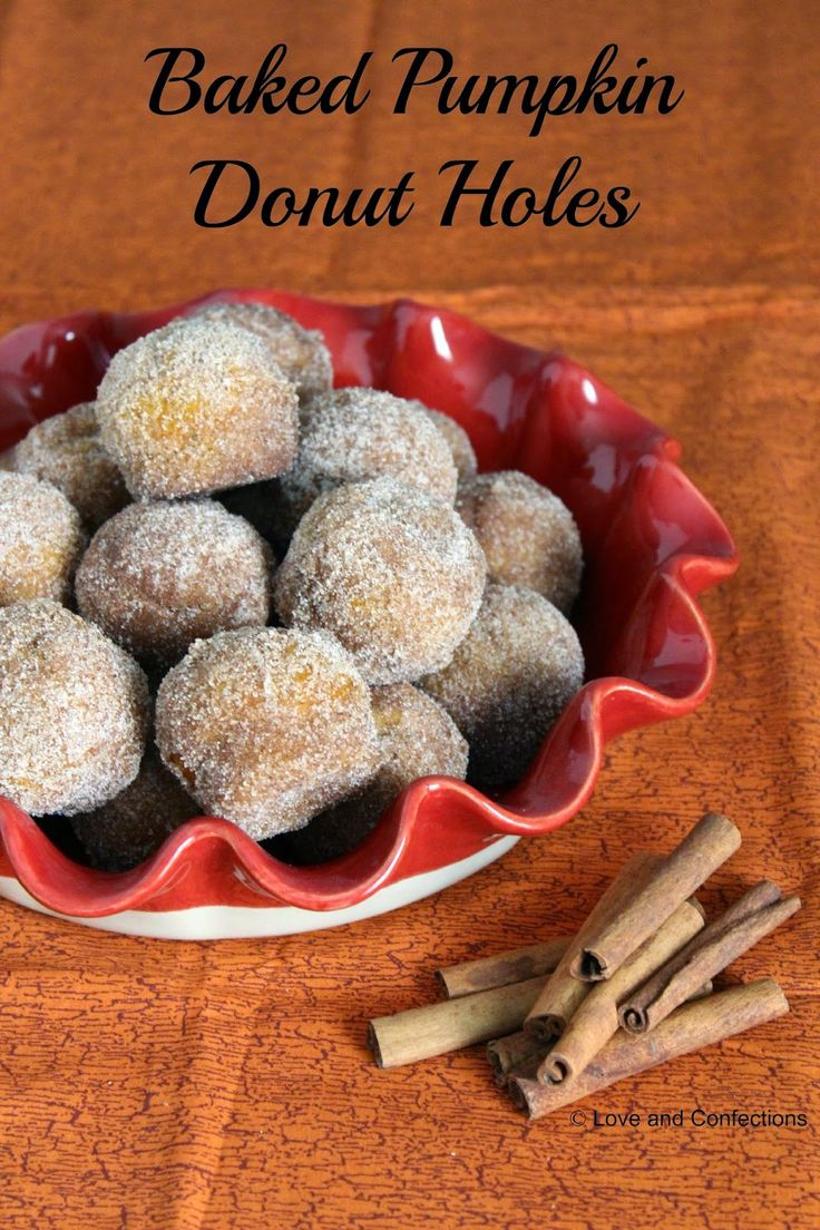 Baked Pumpkin Donut Holes by Love and Confections #PumpkinWeek