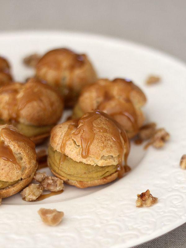 Pumpkin Custard Profiteroles With Maple Caramel Recipe ...
