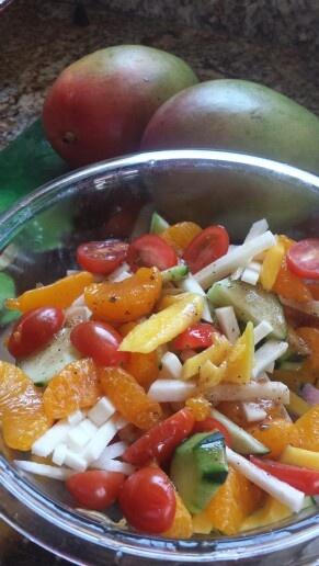 Tropical salad Mango, mandarin orange, cucumber, jicama,cherry ...