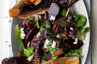 Seared Bitter Greens Salad with Roasted Beets, Spiced Pecans Roquefort