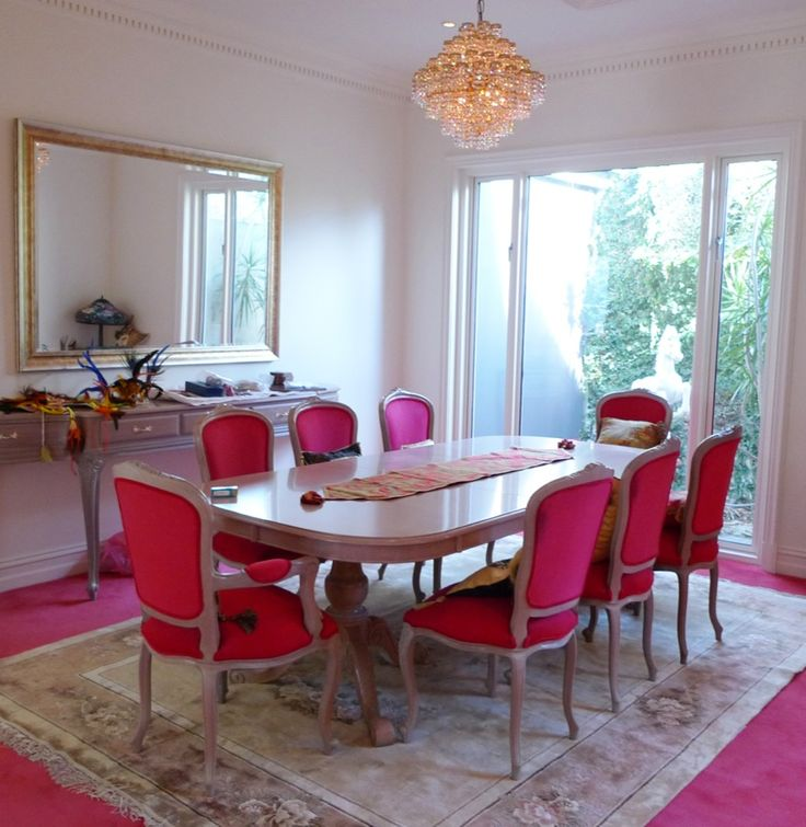 Pink Parisian inspired dining room  glamorous and feminine dining
