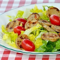 CHicken Sausage in this Roasted Garlic Chicken Sausage Caesar Salad ...
