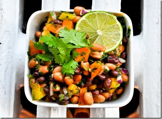 ... bean salad with lime and cilantro dressing instead of refried beans