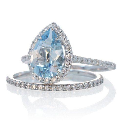 Bridal Set with matching band 14K Pear Shape Aquamarine Engagement Ring Weddi