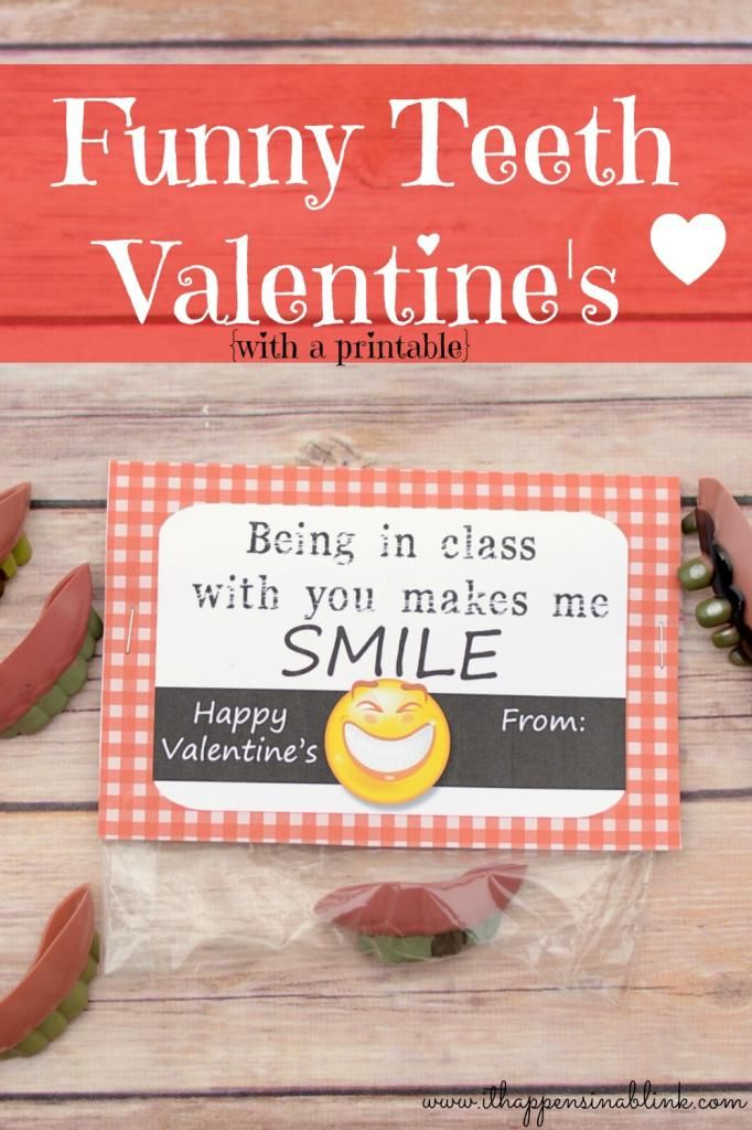 Funnt Teeth Valentine's with Free Printable from It Happens in a Blink