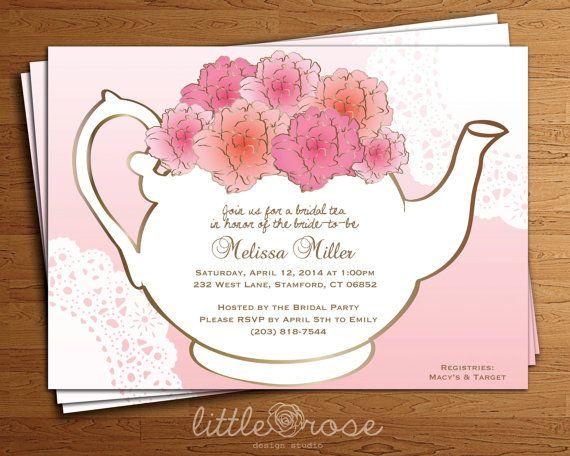 Floral Teapot Bridal Tea Party Bridal Shower Invitation DIY-Printable ...
