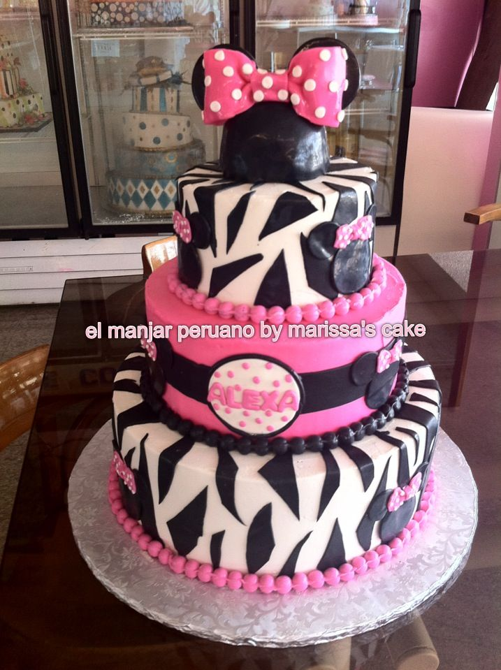 Minnie Mouse Zebra Birthday Cake Image Inspiration of Cake and