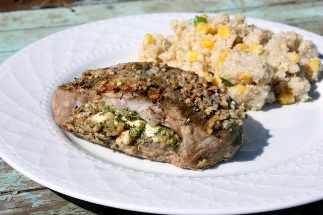 My Recipe Box: Feta and Pesto Stuffed Pork Chops