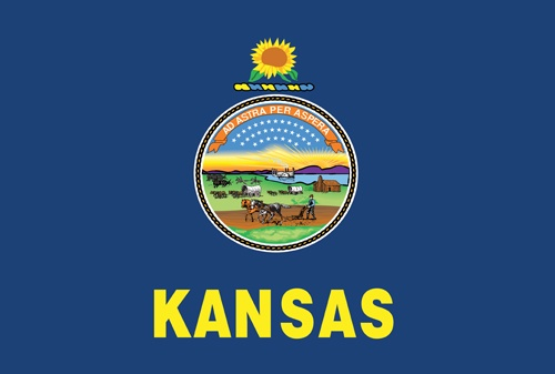 Kansas State Flag - 34th State to enter into the Union - Date of ...
