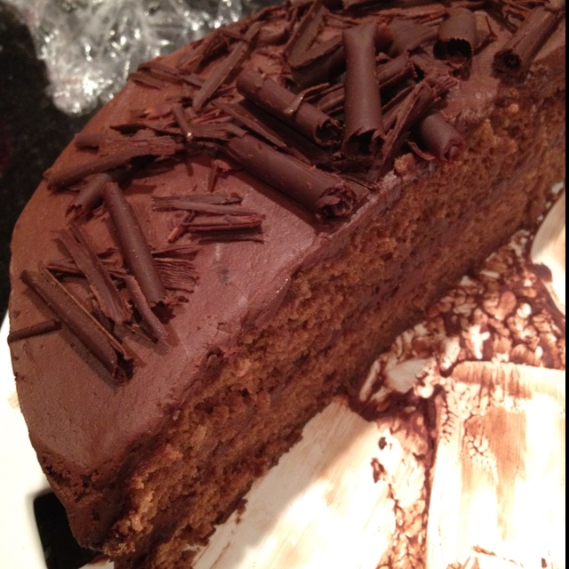 Pioneer Woman's chocolate cake. Sorry for only 1/2 a cake in the