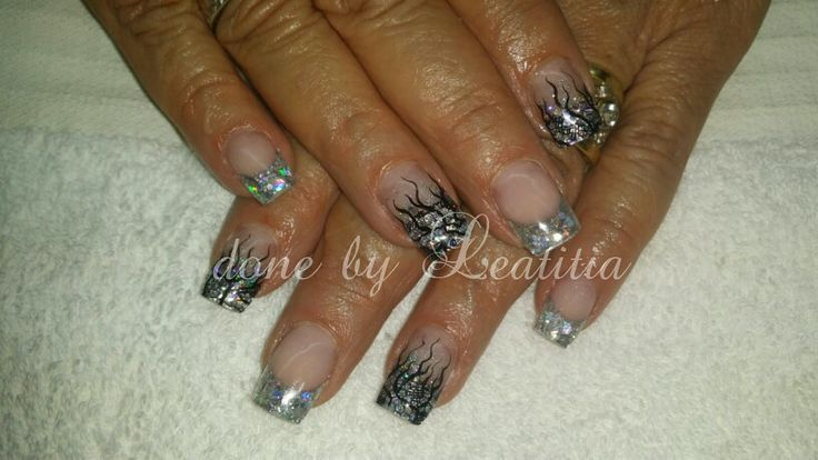Silver nail art with lace | Nails by Me | Pinterest