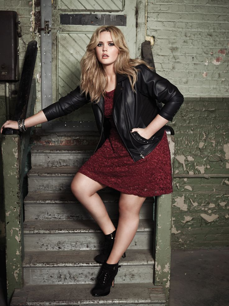Addition Elle plus size biker jacket with studs and lace dress.