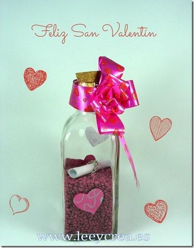 Botella san valent n crea pinterest - Botellas de vidrio para regalo ...