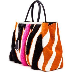 FENDI Zebra Print Ponyskin 2 Jour Bag