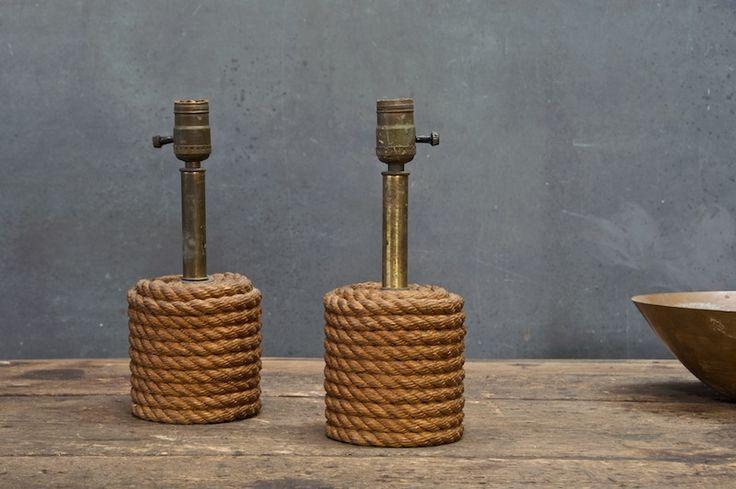 vintage nautical shore rope lamps, 1930s