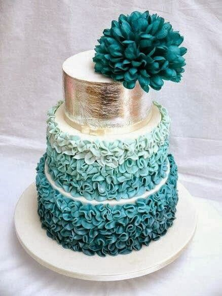 Teal wedding cake with bunched ruffles