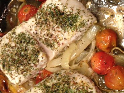 Lemon - Oregano Salmon With Roasted Tomatoes Recipes — Dishmaps