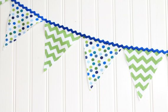 Classroom Decor!!  Blue and Green Fabric Pennant Banner via Etsy for SUPER PRICE!