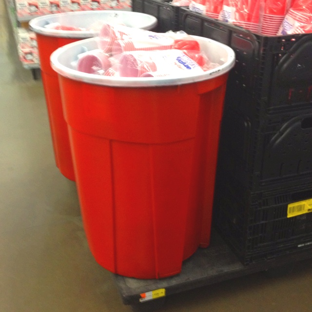 Giant Red Solo Cup  1. A trash can 2. Red and white paint 3. Create!   Perfect for recycling bottles/cans or even as drink bin for a party.