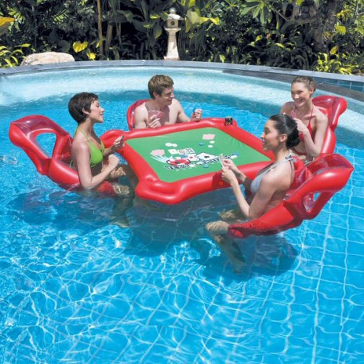 Texas Hold em Floating Swimming Pool Poker Set w Lounge Chairs Cards…