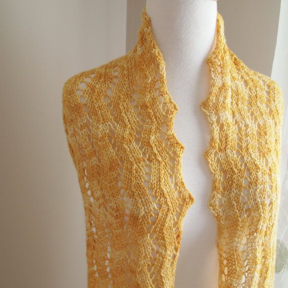 Knitted Scarf Pattern With Sock Yarn : Honey Drop Lace Scarf PDF Pattern for Sock Yarn
