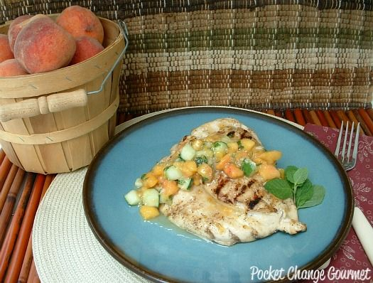 Grilled Chicken with Cucumber-Peach Salsa --- Yum and fresh for spring ...