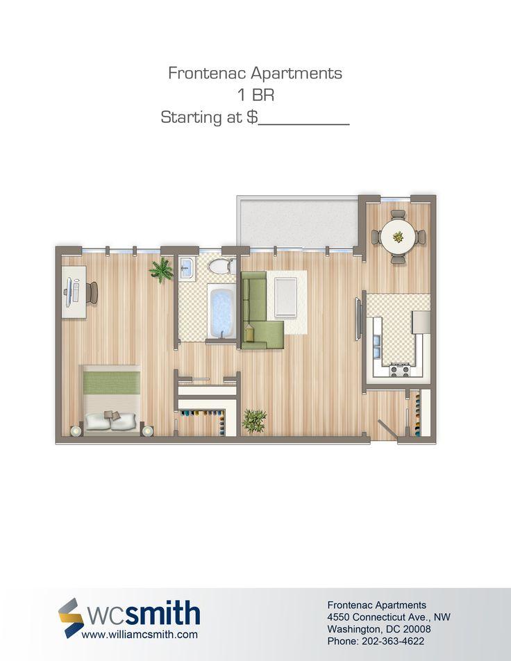 one bedroom floor plan the frontenac in northwest washington dc