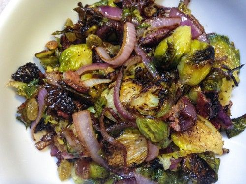 Brussels Sprouts with Bacon and Golden Raisins
