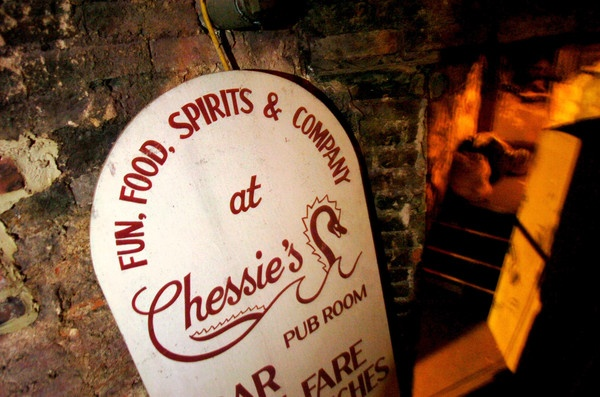 When then-owner Robert A. Sapero took a Baltimore Sun photographer on a tour of the Chesapeake in 1987, this sign promoting the restaurant's in-house pub was resting against a wall in one of the several dining halls.