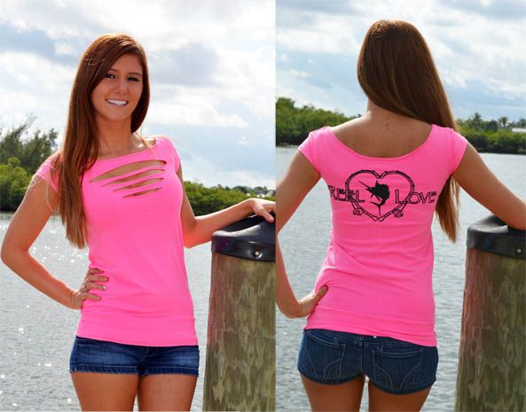 Reel love neon pink sexy fishing top country lovin for Girls fishing shirts