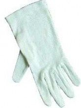 Gloves-Usher Solid White Cotton Large