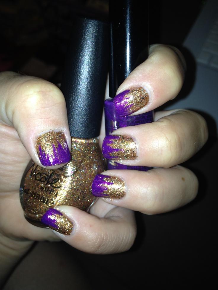 goldpurple nail polish nail art wedding day ideas