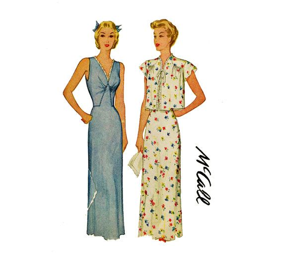 1940s Nightgown and Jacket Pattern McCall 5859 by CynicalGirl, $48.00