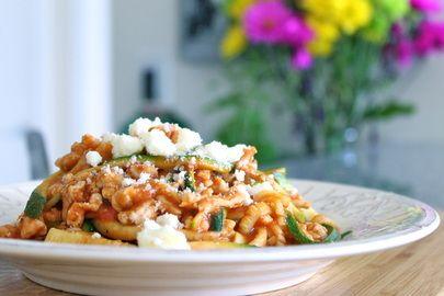 """ground turkey and zucchini """"pasta"""""""
