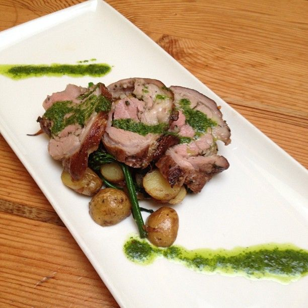 Roasted Lamb Leg, Roasted Fingerling Potatoes, Broccolini, Salsa Verde ...
