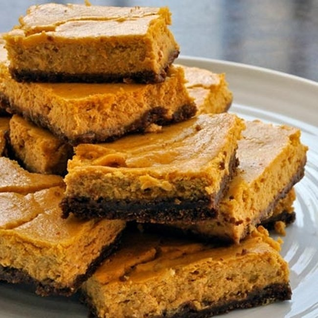 Pumpkin Cheesecake Squares With Gingersnap Crust (1) From: Spoonful ...