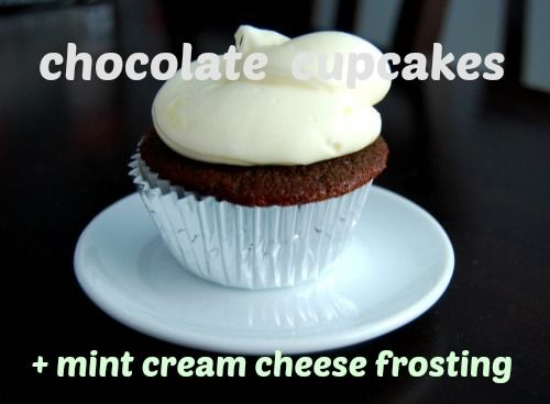 cupcakes + mint cream cheese frosting | Cold Porcelain | Pinterest