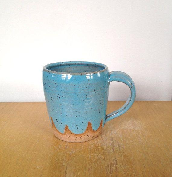 Turquoise Waves Ceramic Coffee Mug Light Blue Coffee Cup