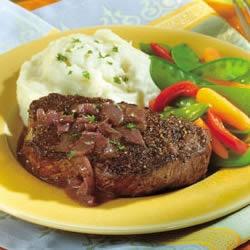 ... Mustard-Wine Sauce - beef tenderloin steaks, red wine, shallots, dijon