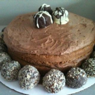 Walnut Mocha Torte with homemade truffles
