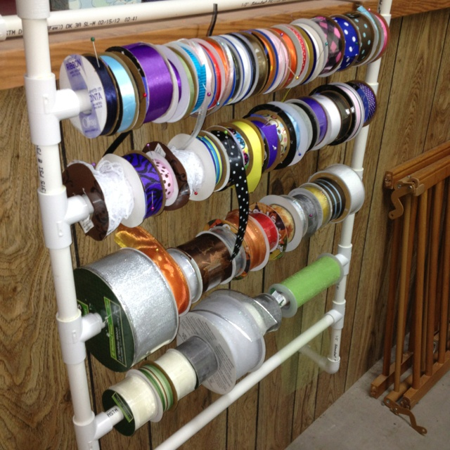 Ribbon holder out of pvc pipe pvc pipi projects pinterest for Pvc crafts