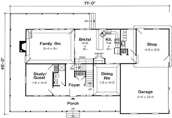 Country farmhouse southern traditional house plan 24403 for Traditional southern house plans