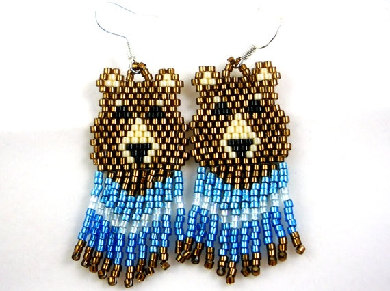 Brown Bear Earring Delica Beads Turquoise by SmileykitCreations, $16.00