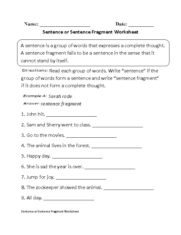 Sentence or Fragment Worksheet Beginner | Education | Pinterest
