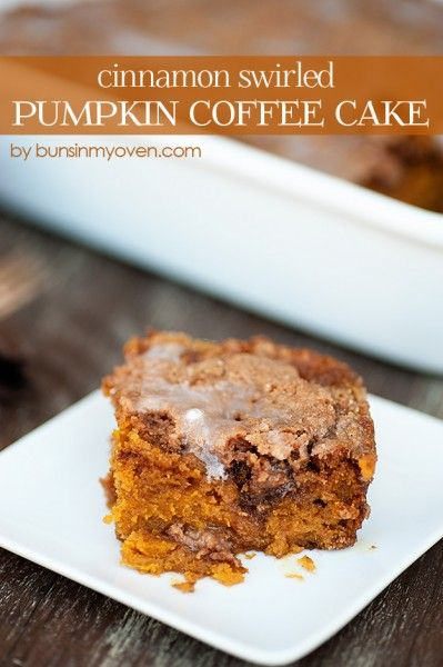 Cinnamon Swirled Glazed Pumpkin Coffee Cake by Buns In My Oven