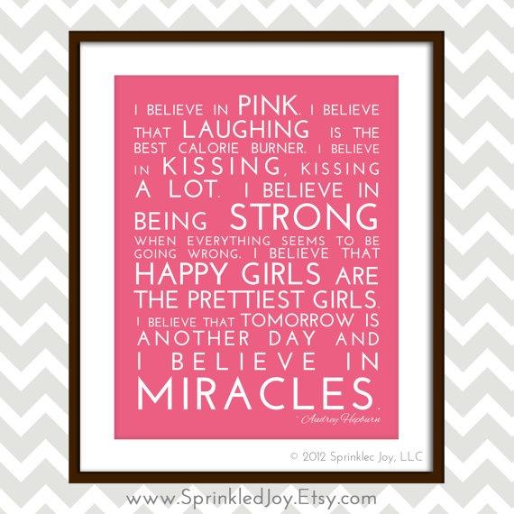 i believe in pink audrey hepburn inspirational quote