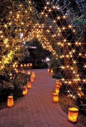 #lights #fairy lights #lanterns #arbor #pathway #pretty