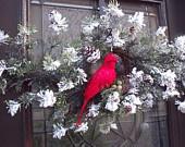 Cardinal Holiday Door Wreath, handmade USA, Kathy's Holiday, Ocean City, NJ